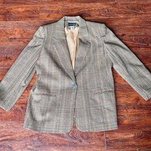 Requirements button up plaid blazer